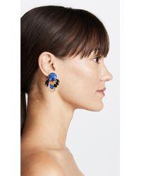 Marni - Blue Metal & Strass Clip On Earrings - Lyst