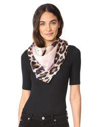 Kate Spade | Pink Cheetah Face Silk Square | Lyst