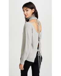 Glamorous - Gray Cold Shoulder Turtleneck Sweater - Lyst