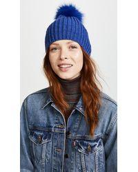 Adrienne Landau. Women s Knit Hat With Fox Fur Pom Pom 8f3513131fbf
