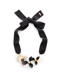 Marni | Black Necklace With 3 Leather Flowers | Lyst