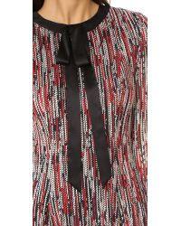 Alice + Olivia Black Gwyneth Tie Neck Flare Dress