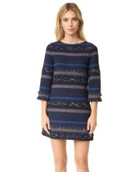 Alice + Olivia | Blue Evelina Bell Sleeve A Line Dress | Lyst