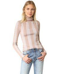 Alice + Olivia   Multicolor Catheryn Pointelle Turtleneck Sweater   Lyst