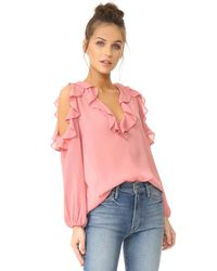 Alice + Olivia | Pink Gia Ruffle Cold Shoulder Blouse | Lyst