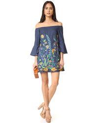 Alice + Olivia Blue Kyra Flare Sleeve Tunic Dress