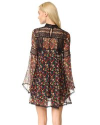 Anna Sui Black Pansy Print Crinkle Chiffon Dress