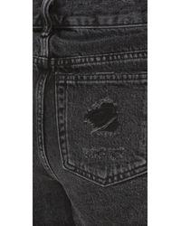 Alexander Wang - Gray Distressed Denim Shorts - Lyst