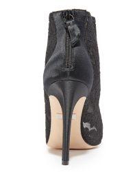 Badgley Mischka Black Nerina Lace Open Toe Booties