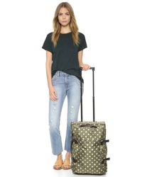 Bensimon Brown Printed Rolling Suitcase