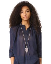 Chan Luu - Gray Pendant Stone Necklace - Lyst