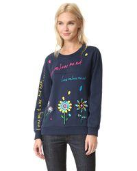 MIRA MIKATI | Blue Love Me Embroidered Sweatshirt | Lyst