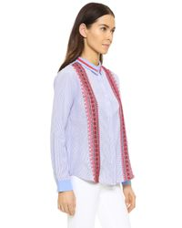 English Factory Purple Embroidered Button Down