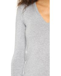 525 America | Gray Low V Neck Sweater | Lyst
