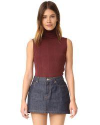 525 America | Multicolor Variegated Rib Sleeveless Turtleneck Sweater | Lyst