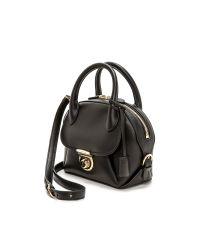 Ferragamo | Black Fiamma Satchel Bag | Lyst