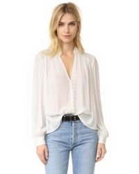 Free People | White Canyon Rose Button Down Shirt | Lyst