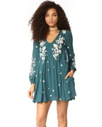 Free People | Blue Sweet Tennessee Embroidered Mini Dress | Lyst