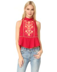 Free People | Red Flora Top | Lyst