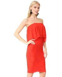 Fuzzi - Red Strapless Dress - Lyst