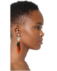 Gas Bijoux - Orange Serti Plume Earrings - Lyst