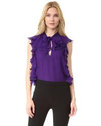 Giambattista Valli - Purple Sleeveless Ruffle Top - Lyst