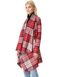 Harris Wharf London - Blue Belted Blanket Coat - Lyst