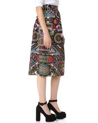 Holly Fulton Black Print Midi Skirt