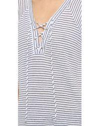 Monrow - White Lace Up Raglan Striped Tee - Lyst