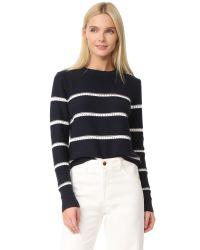 Jenni Kayne   Blue Pointelle Stripe Sweater   Lyst
