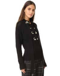 JOSEPH - Black Lace Up Cashmere Sweater - Lyst