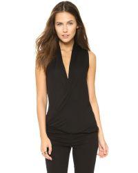 Lanston | Black Surplice Pullover Top | Lyst