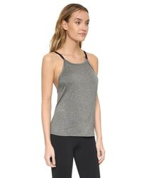 Live The Process - Gray Linear Strap Top - Lyst
