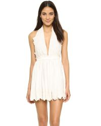 LoveShackFancy - White Halter Mini Dress - Lyst