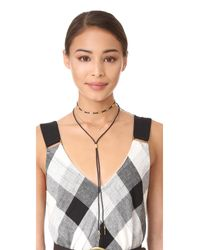 Madewell - Black Cord Lariat Layer Necklace - Lyst
