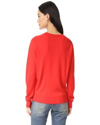 Maison Kitsuné - Red Crew Neck Pullover - Lyst