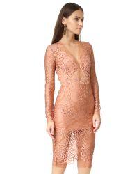 Michelle Mason Blue Long Sleeve Lace Dress