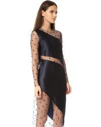 Michelle Mason Multicolor Long Sleeve Slant Mesh Dress
