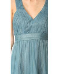 Monique Lhuillier Bridesmaids | Blue Tulle High Low Gown | Lyst