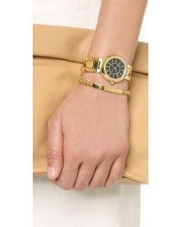 Michael Kors - Metallic Logo Plaque Adjustable Beaded Bracelet - Lyst