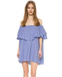 MLM Label - Blue Maison Off Shoulder Gingham Dress - Lyst