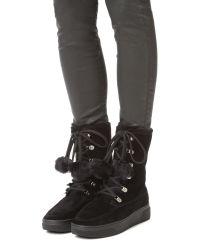 MICHAEL Michael Kors | Black Juno Faux Fur Lace Up Boots | Lyst