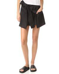 MSGM Black Chambray Shorts