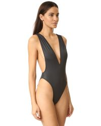 Norma Kamali - Black V Neck Marissa One Piece - Lyst