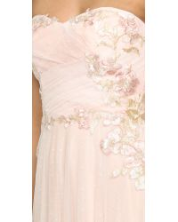 Notte by Marchesa Natural Strapless Draped Gown
