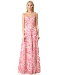 Notte by Marchesa | Pink Floral Embroidered Gown | Lyst