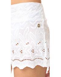OndadeMar   White Miranda Embroidered Shorts   Lyst