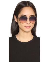 Oscar de la Renta - Brown Swarovski Crystal Mosaic Aviator Sunglasses - Lyst