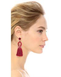 Oscar de la Renta - Multicolor Short Silk Tassel Clip On Earrings - Lyst