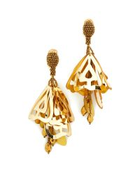 Oscar de la Renta | Metallic Large Lace Impatiens Clip On Earrings | Lyst
